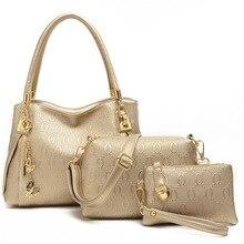 Neues Design 3in1 Frauen Pu-leder Handtaschen Strauß Verbund Einkaufstasche Lash Paket Schulter Messenger Bags Weibliche Taschen Feminina