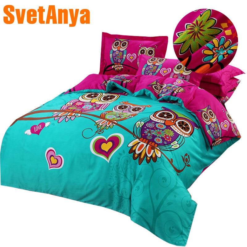 3/4/7 pcs hibou enfants/enfants 3d literie lits complet reine king size 100% coton couette couverture plat ou drap housse taies ensembles