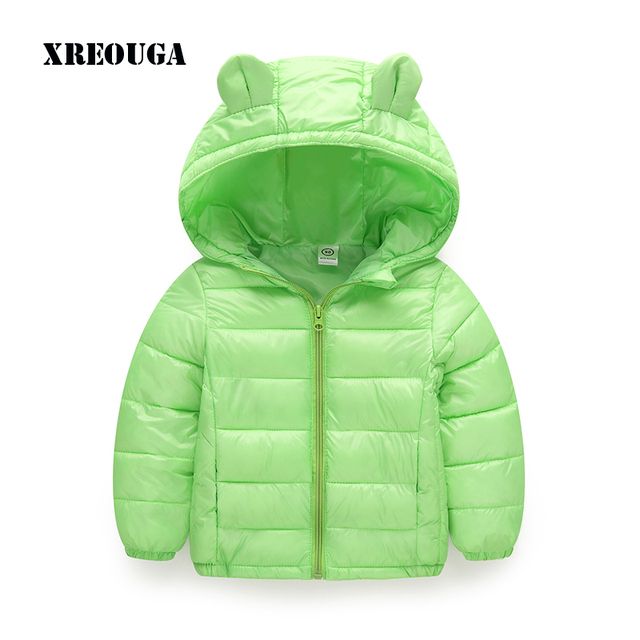 15137b37d Hot Sale Candy Color Kids Winter Jackets Cartoon Style Girls Cute Outerwear  Baby Clothes Ear Hooded Zipper Cotton Parkas HEX01