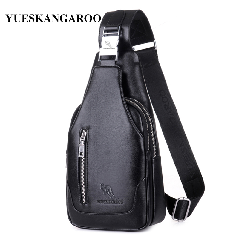 YUES KANGAROO Brand Men Chest Bag Single Shoulder Bag Leather Travel Crossbody casual Vintage Rucksack pack