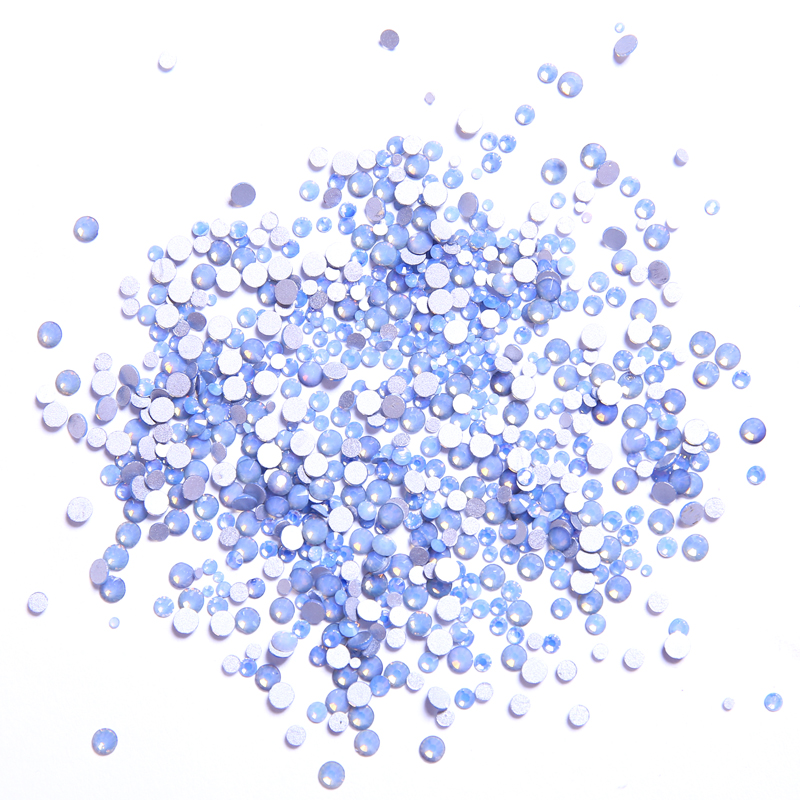 Mix Sizes Glass Blue Opal Crystal Non Hotfix Flatback Strass Nail Art Nail Rhinestones Nails Accessories Nail Art Decoration glass flatback rhinestones for nails ss4 ss20 strass crystal ab nail art rhinestones decoration set color mix 3842 4408pcs yst01
