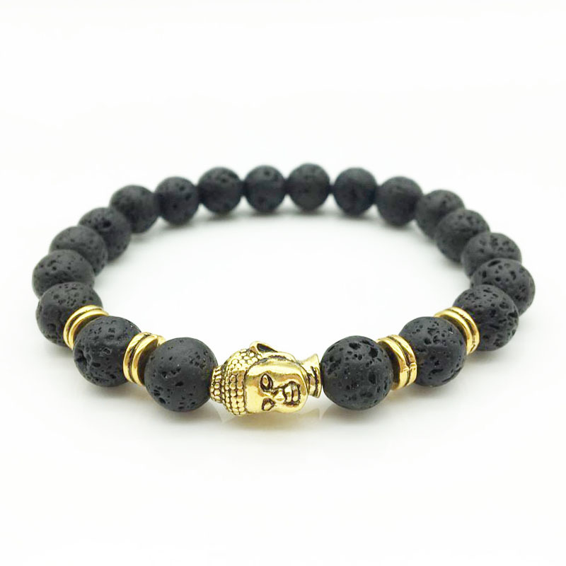 1PCS Gold Buddha Beads Bracelets for Men Women Lava Stone Chakra Bracelet Male Braslet Femme Jewelry Holiday Gifts Pulseras
