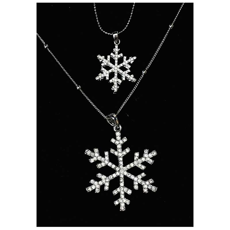 BEAUTIFUL PLAN Crystal Double Snowflake Long Necklace For Women Wholesale