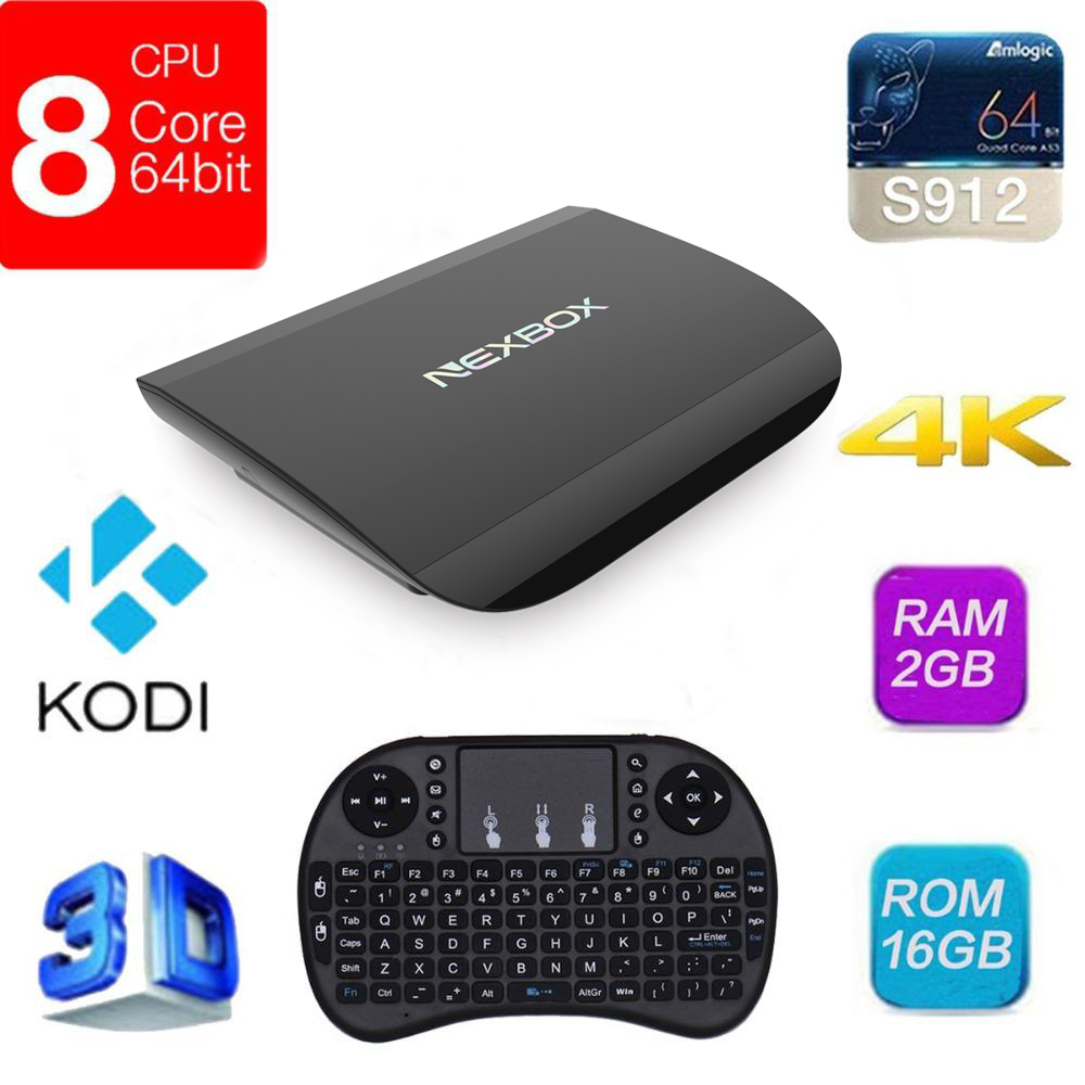 NEXBOX A1 Android 6.0 Smart TV Box 4K VP9-10 2G 16G Amlogic S912 Octa Core H.265 1000M LAN 2.4G+5G WiFi BT4.0 KODI Media Player