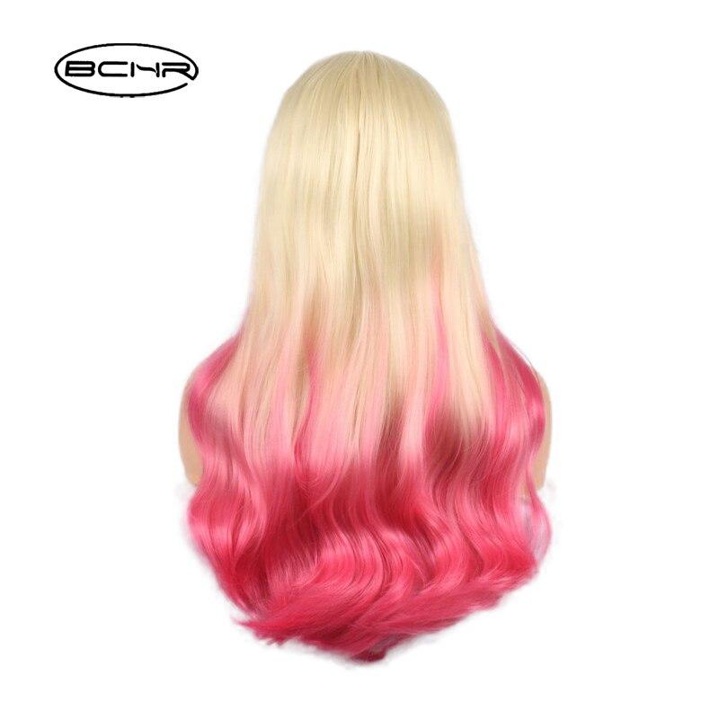 BCHR Långt Billiga Hår Två Vit Ombre Rosa Paryk Naturlig - Syntetiskt hår - Foto 4