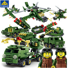 6pcs/lot Military Field Army Building Blocks Helicapter Weapons Soldier Bricks Educational Toys for Children