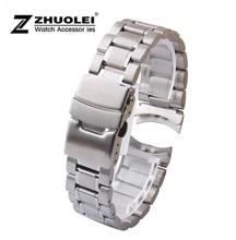 Argent En Acier Inoxydable Bande de Montre Bracelet curved End Bracelet 18mm 20mm 22mm 24mm assurance fermoir bracelet