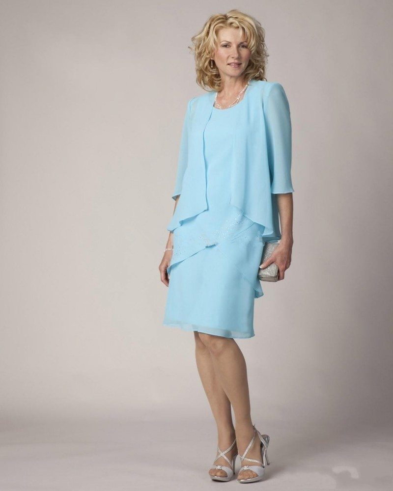 US $99.0 |Sky Blue Chiffon Mother Of the Bride Dresses With Jacket New  Fashion Three Quarter Sleeve Knee Length Mother Dress-in Mother of the  Bride ...