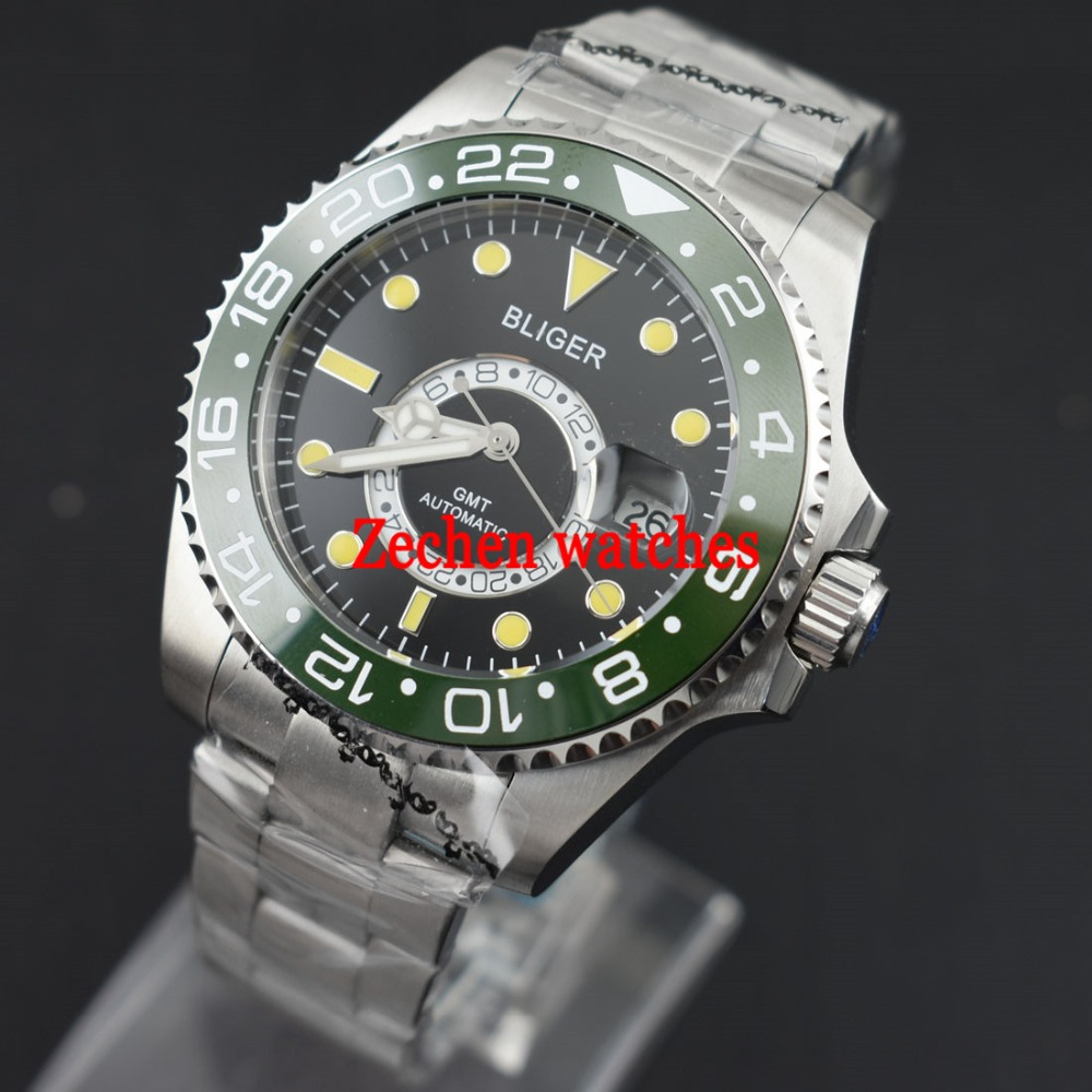 Bliger 43mm mens watch Ceramic Bezel Sapphire Steel black dial GMT Automatic Luminous Watch цена и фото
