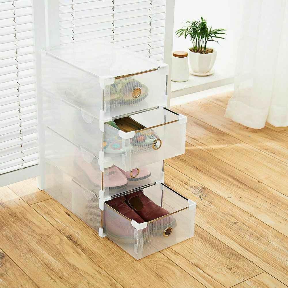 Caja de Almacenamiento de Organizador de Zapatos de pl/ástico multifunci/ón MINUS ONE Cajas de Zapatos Transparentes de 20 Piezas con Tapas
