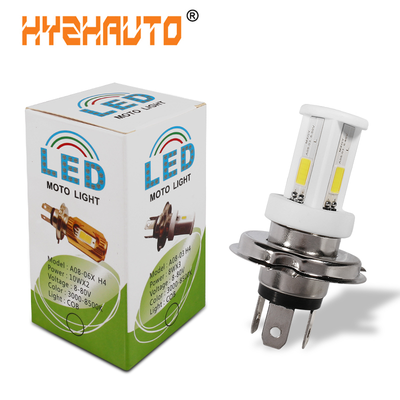 HYZHAUTO 1Pcs H4 LED Motorcycle Headlight High Power Ceramic Bulb HS1 LED Moto Scooter Motorbike Light White 6000K 2400LM 12-80V