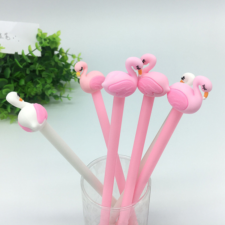 Image 2 - 50 PCS Cartoon Pink Flamingos Modeling 0.38mm Neutral Pen Student Learning Office Black Signature Wholesale Canetas School-in Gel Pens from Office & School Supplies