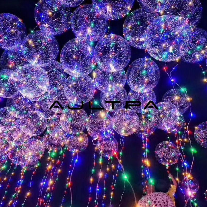 No Wrinkle Clear Bobo Balloon With 3M Led Strip Wire Luminous Led Balloons Wedding Decoration Birthday Party Toy