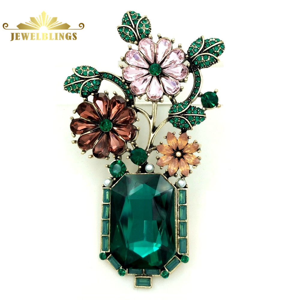 Gorgeous Micro Pave Crystal Bonsai Flower Brooch Gold Tone Green Leaf Deep Red Orange Pink Floral Green Vase Pin Vintage Jewelry