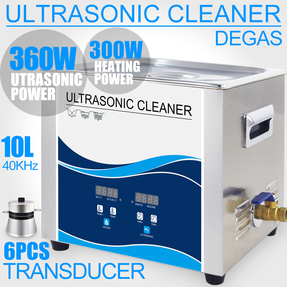 360W Ultrasonic Cleaner 10L Bath Degas Ultrasonido Cleaning for Bullets Shell Motor Parts Filter Lab Injector Remove Oil Rust