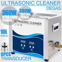 360W Ultrasonik Temizleyici 10L Banyo Degas Ultrason Temizleme Mermi Kabuk Motor Parçaları Filtre Laboratuvar Enjektör Kaldırmak Yağ Pas