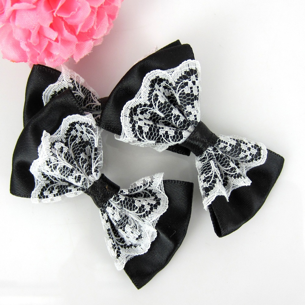 Black headbands for crafts - 24pcs Black Lace Bowknot Flower Satin Ribbon Bowknot Flower For Baby Kids Headband Hair Accessories Sewing Craft 3 5 X 5 5cm
