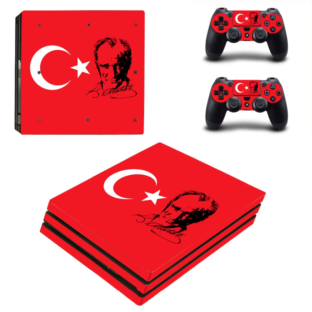 Turkey Flag PS4 Pro Skin Sticker Decal For Sony PS4 PlayStation 4 Pro Console and 2 Controllers Stickers
