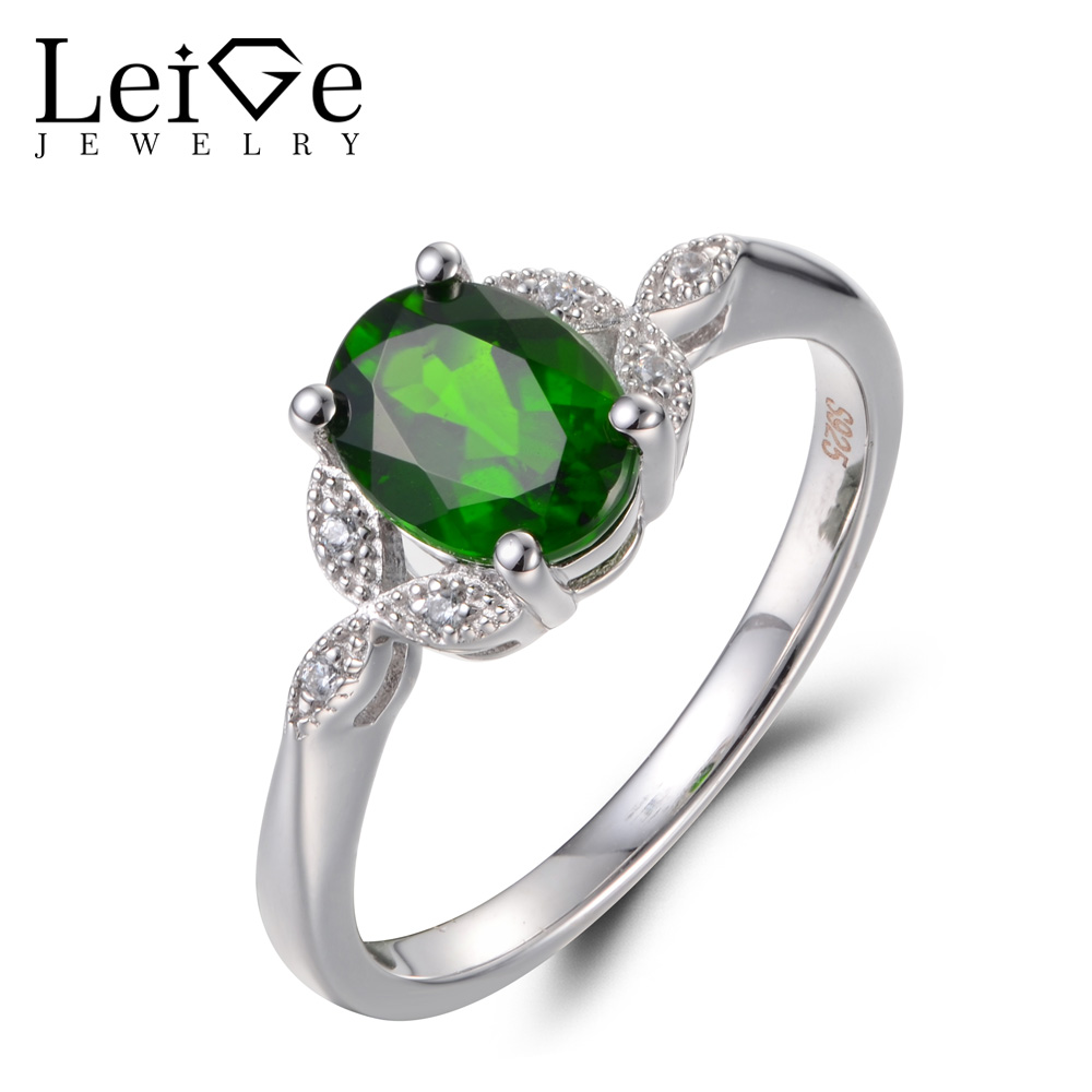 Leige Jewelry Unique Engagement Rings Natural Chrome Diopside Ring Oval Cut Gems Solid 925 Sterling Silver Wedding Gifts for HerLeige Jewelry Unique Engagement Rings Natural Chrome Diopside Ring Oval Cut Gems Solid 925 Sterling Silver Wedding Gifts for Her