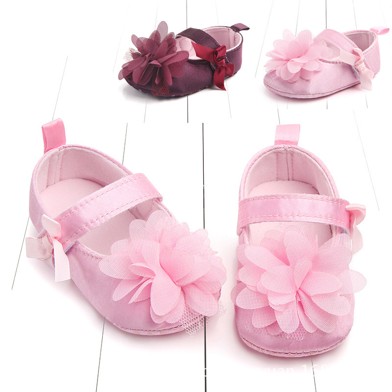Spring And Autumn New Pattern Bow Flower Princess Shoe Baby Shoe Study Walking Shoes Baby Shoe D0712