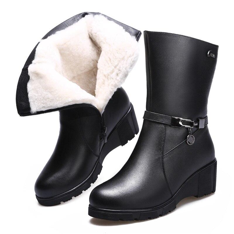 2018 Hiver Confort slip Non Femme À Talons De Chaud Nouvelle Noir Femmes Laine Cuir Bottes Vachette Chaussures En Coton Hauts Mode hstrQd