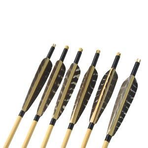 Image 4 - 6 шт. деревянные стрелка 80 см обычные древесины вал с 5 дюймов щит перо для блочного Лука Охота стрельба и стрел для стрельбы из лука под стержень