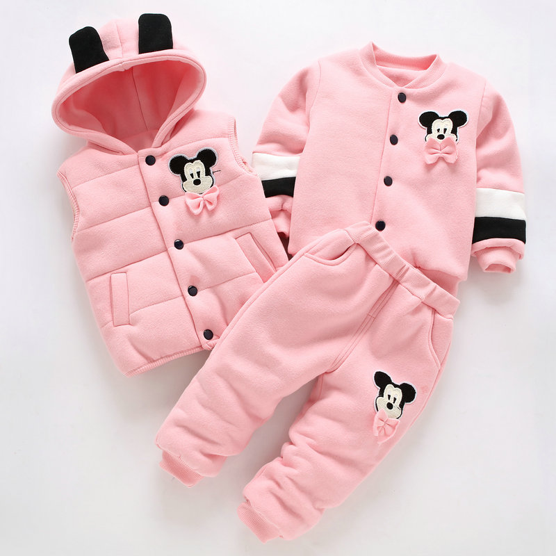 Hot 3Pcs 2018 Baby Kids Winter Clothing Set Newborn Thick Cotton-Padded Clothes For Boys Girls 0-3Y Hooded Vest Coat Tops Pant