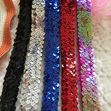 Shiny 5Yards/lot 3CM Width Stretch Sequin Stripe Lace Ribbon Elastic Band Trim For DIY Belly Dance Garment Accessories