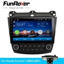 Funrover android 8,0 автомобильный dvd для honda Accord 7 2003-2007 gps навигация Радио Видео Стерео мультимедийный плеер четырехъядерный BT