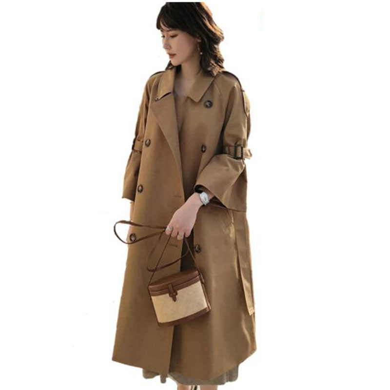 Autumn Women Long   Trench   Female Double Breasted Loose Straight Coat Fashion Slim Waist All-match OverThe-Knee Outerwear LM037
