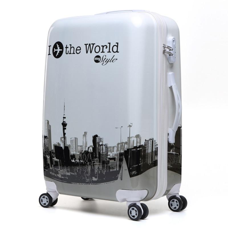 LeTrend Kleur streep patroon Rolling Bagage Spinner 24 inch Koffer Wielen 20 inch Vrouwen Dragen op Trolley Reistas Kofferbak