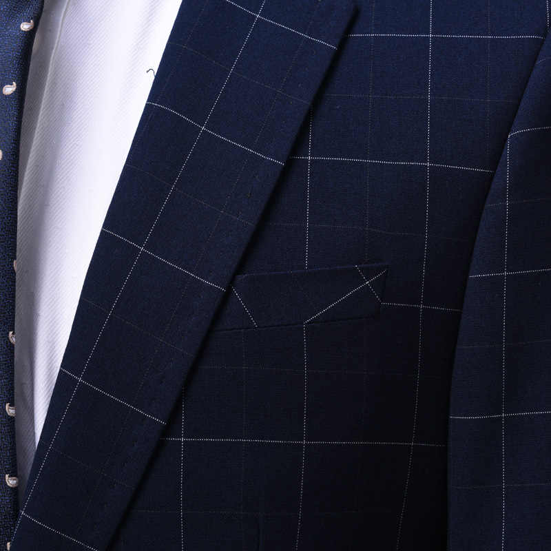 OSCN7 bleu Plaid sur mesure costumes hommes 3 pièce Gentleman Business mariage sur mesure hommes costume Blazer personnaliser 7137-09