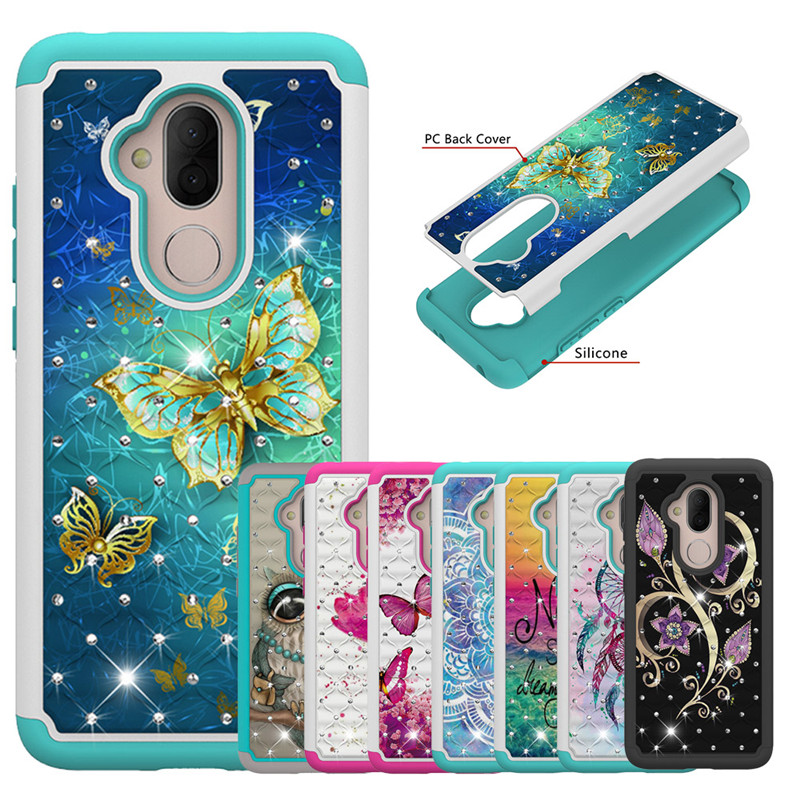2 In 1 Painted Diamond Phone Case For Google Pixel 3 XL ZTE N9136 Silicone+PC For Alcatel 7 Folio Revvl 2 Plus Back Cover