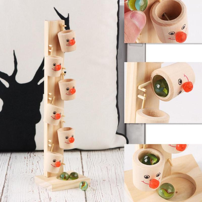 Baby Montessori Clown Pattern Wooden Blocks Tree Marble Ball Run Track Game Children Intelligence Educational Toy Kids Gifts