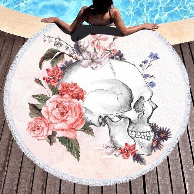 Toallas de playa Boho, toalla de playa de microfibra redonda con flor y cráneo de azúcar impresa para adultos, Toalla de baño grande de verano para Picnic, manta de Yoga