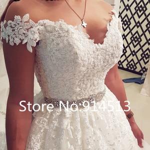 Image 2 - Vestidos de novia sin hombros de princesa 2020 escote corazón apliques encaje Línea A vestido de tul para bodas Vestidos de novia de talla grande