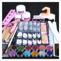 Hot Sale Nail Art Acrylic Powder Glitter Nail Brush False Finger Pump Nail Art Tools Kits Dropshippings Beauty Girl 2017