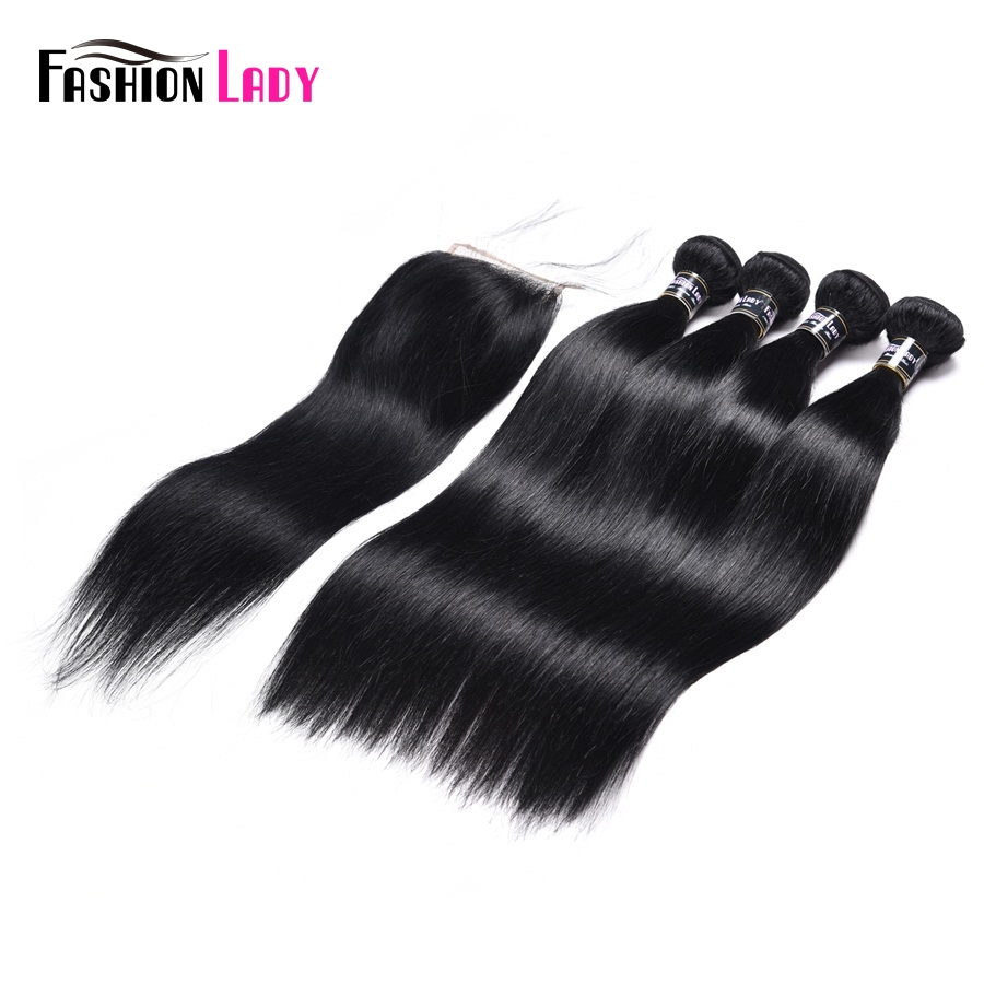 Fashion Lady Pre-Colored Indian Human Hair Bundles 4 Bundles With Lace Closure 1# Jet Bl ...