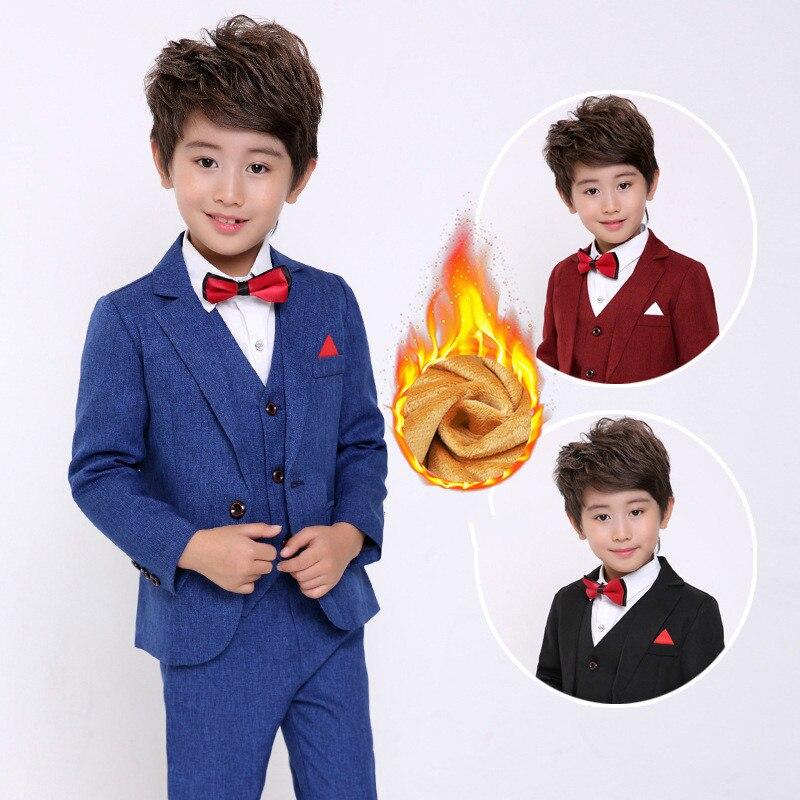 Autumn and Winter Children's Clothing Boy Suit Dress Suit Children's Korean Version of The Suit Host Three-piece Plus Velvet детский костюм panda plus velvet suit ty1267 2015