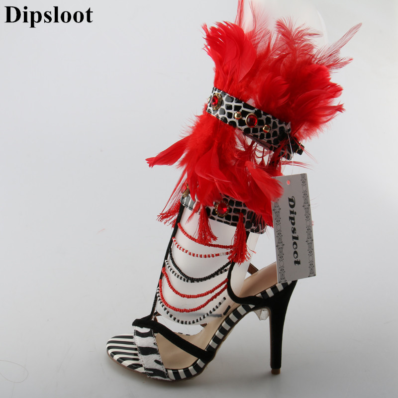 Dipsloot Mutil Color Feathers Embellished High Heels Dress Party Runway Shoes Woman Buckle Strap Summer Gladiator Sandals Boots