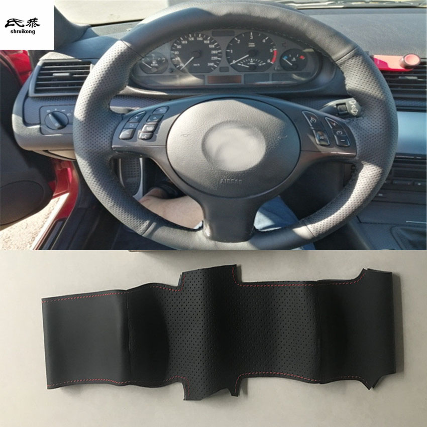 1set Sew-on Microfiber leather car steering wheel cover Car accessories for BMW E46 E39 330i 540i 525i 530i 330Ci M3 2001-2003(China)