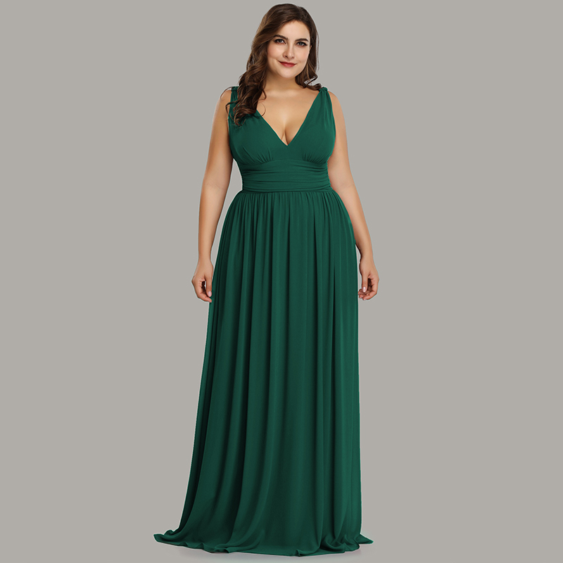US $29.99 40% OFF|Ever Pretty Plus Size Bridesmaid Dresses 2019 Vestidos  Elegant A Line V Neck Backless Long Chiffon Wedding Party Gowns EP09016-in  ...