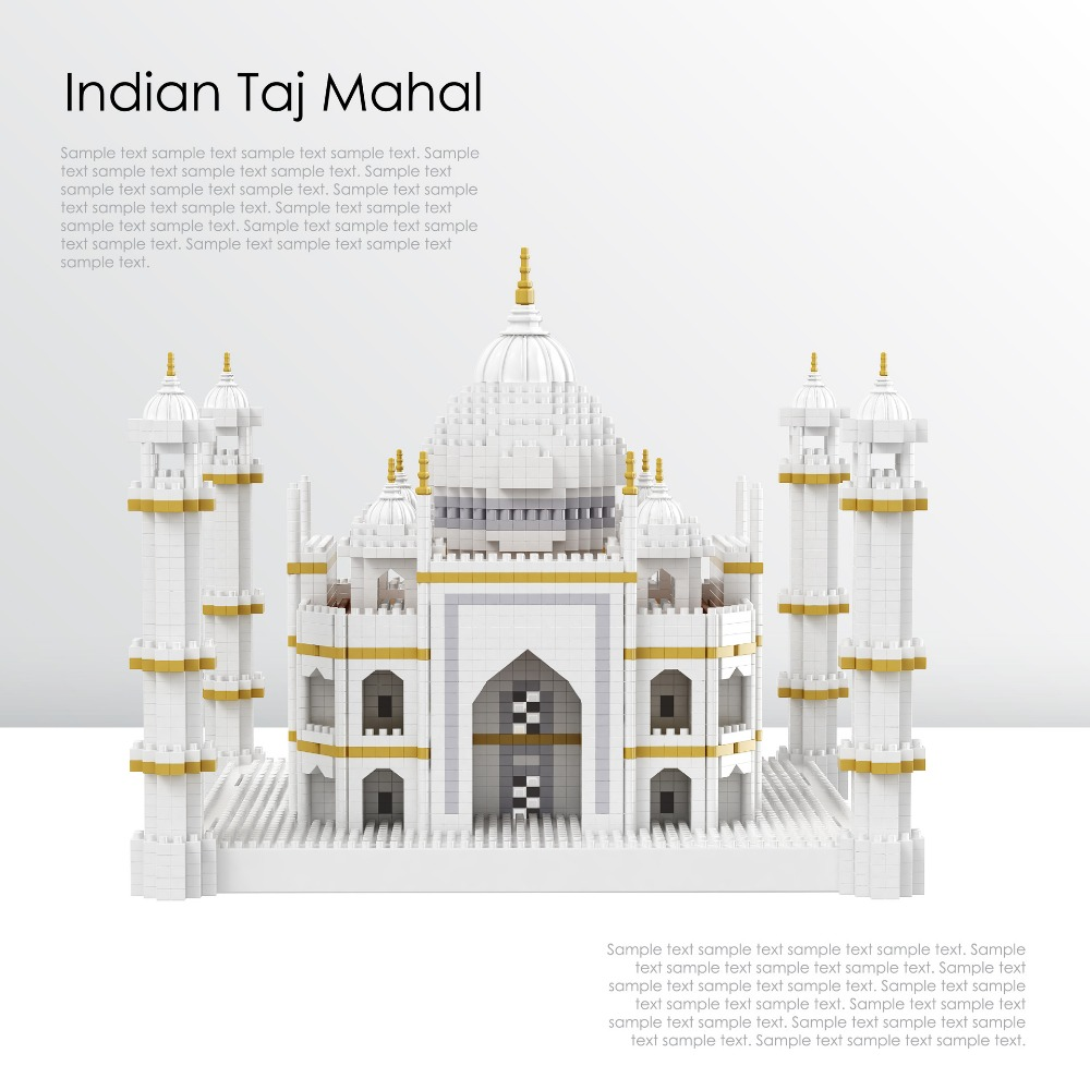 World Famous Historical Architecture nanoblock Taj Mahal India micro diamond building block 3200 pcs bricks model toys for gifts creator hot world famous city funland micro diamond building block castle nanoblock assemble model bricks toys collection gifts