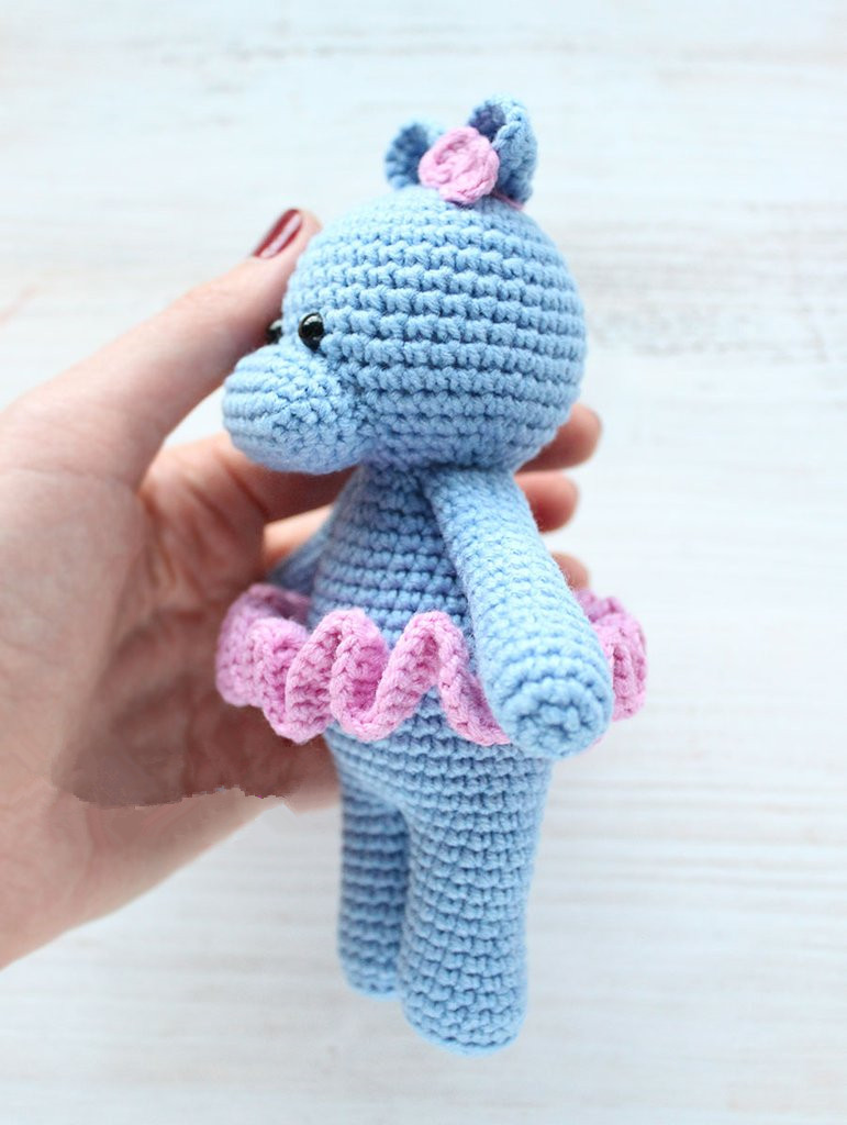 Amigurumi Crochet Hippo In Dancing Dress