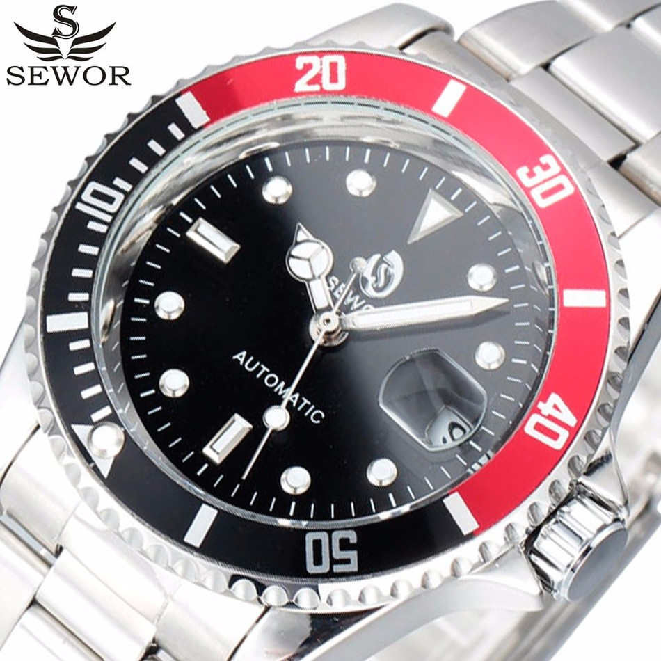 SEWOR Top Brand Luxury Date Sport Automatic Mechanical Watch Men Wristwatches Clock Army Military Watches Relogio Masculino