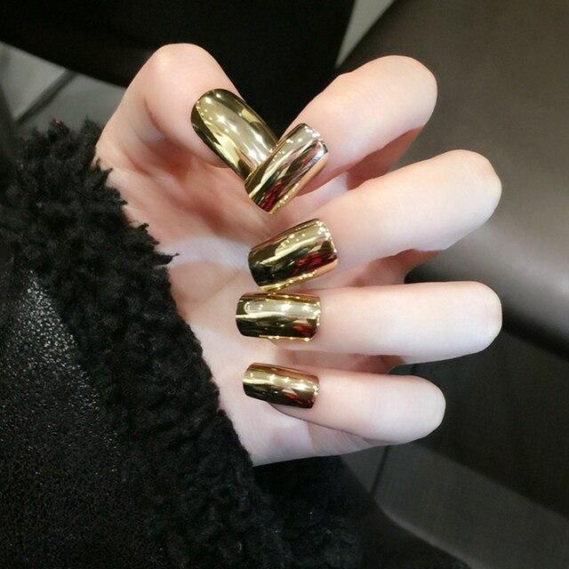 Long Square Mirror Acrylic Nails Gold Metallic Nail Art Tips ...