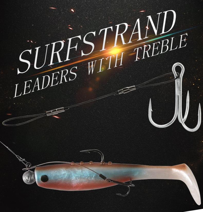 RoseWood Leaders With Treble Hook Fishhooks Metal Jig Hook High Carbon Steel #6 #1 #10 #20 Assist Hooks Line Fishing Hook  (1)