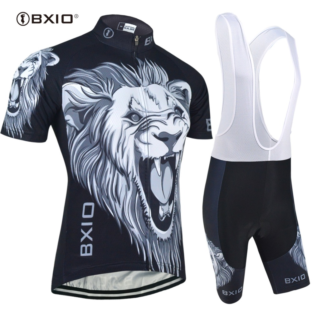 BXIO Cycling Jerseys Black Tiger Bike Clothing Sets Cool Short Sleeve Mountain Bike Clothes Ropa Ciclismo Invierno BX-0209H030