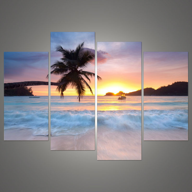 Wall art canvas painting frame hd pictures for room home decor 4 pieces coconut sunset beach sea view modern oil poster pengda in painting calligraphy