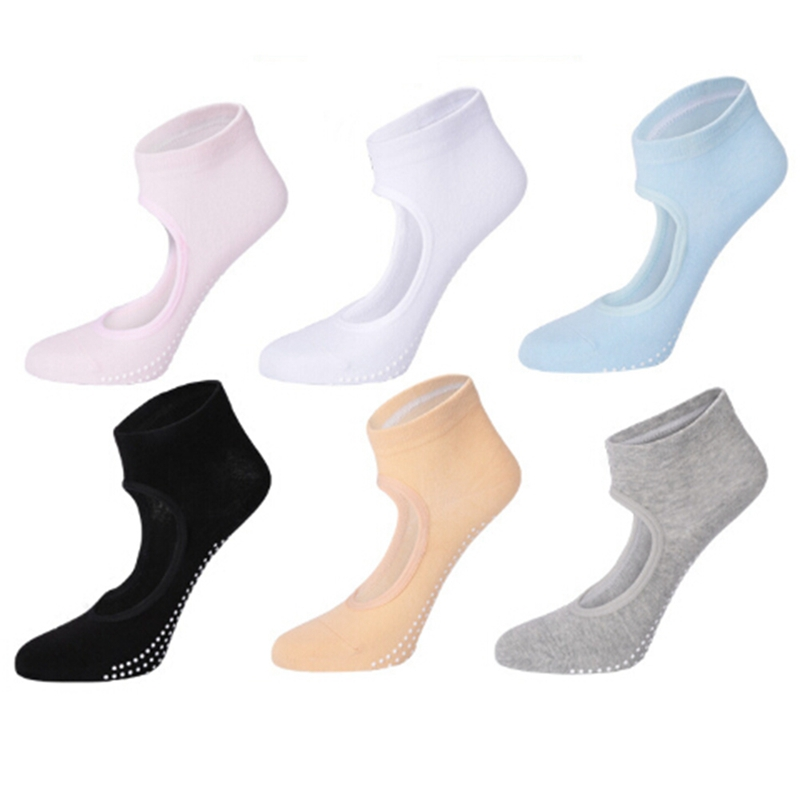 High Quality 1Pair Women Sports Fit Yoga Socks Anti Skid Breathable Fitness Pilates Socks Dancing Gym Heel Non Slip Cotton Sock women yoga dance sports pilates anti slip exercise massage half toe socks